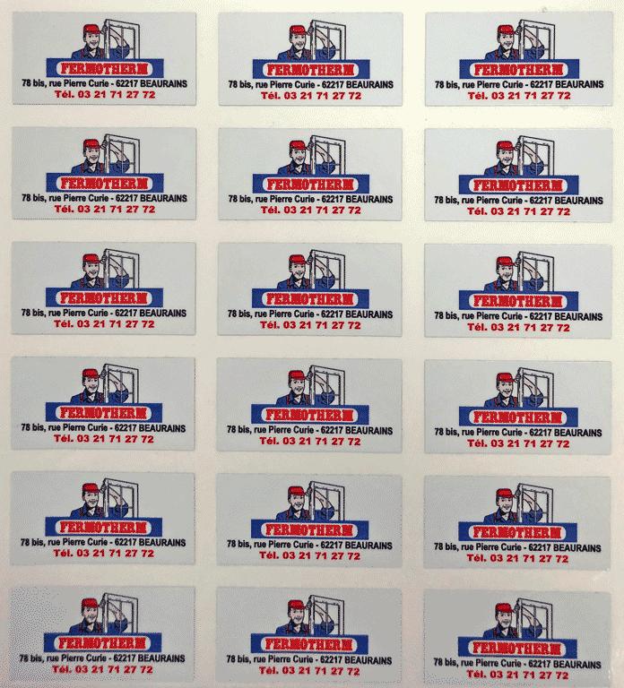 planche d'étiquettes Fermotherm
